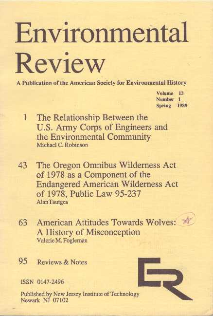 ENVIRONMENTAL REVIEW; A Publication of the American Society for Environmental History
