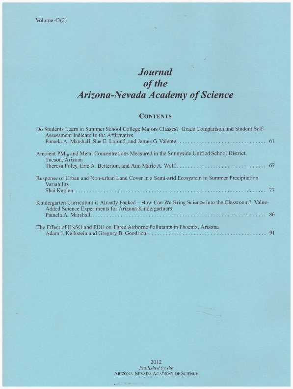 JOURNAL OF THE ARIZONA-NEVADA ACADEMY OF SCIENCE.