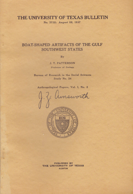 BOAT-SHAPED ARTIFACTS OF THE GULF SOUHTWEST STATES. J. T. Patterson.