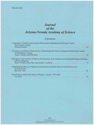 JOURNAL OF THE ARIZONA-NEVADA ACADEMY OF SCIENCE